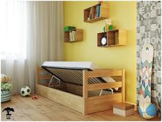 Детская кровать 90 из бука с подъемным механизмом Милена Лев 90*200