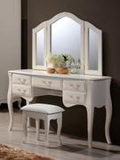 Будуарный стол из натурального дерева с зеркалом и пуфом Богемия Domini