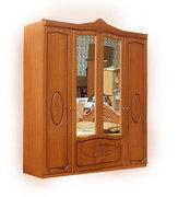 Шкаф с зеркалом четырехдверный из МДФ Катрин 4Д Світ Меблів