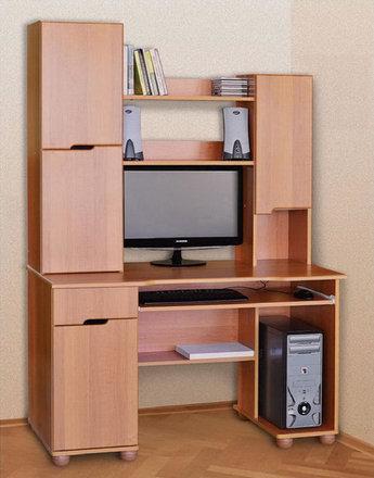 Компьютерный стол из ДСП с надстройкой Олимп Летро