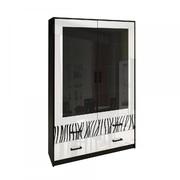 Сервант 2 дверцы комплект Терра Глянец белый - черный мат