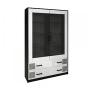Сервант 2 дверцы комплект Виола Глянец белый - черный мат