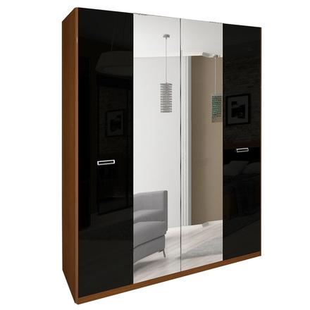 Шкаф 4 дверей комплект Белла Глянец черный-вишня бюзум