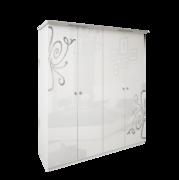 Шкаф 4 дверей Без зеркал комплект Богема глянец белый