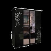Шкаф 4 дверей комплект Богема глянец черный