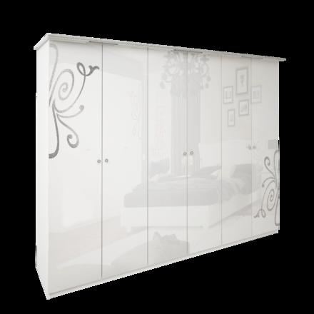 Шкаф 6 дверейбез зеркал комплект Богема глянец белый