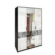Шкаф 3 дверей комплект Терра глянец белый - черный мат