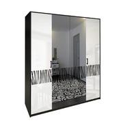Шкаф 4 дверей комплект Терра глянец белый - черный мат