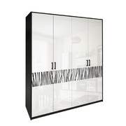 Шкаф 4 дверей (Без зеркал) комплект Терра глянец белый - черный мат