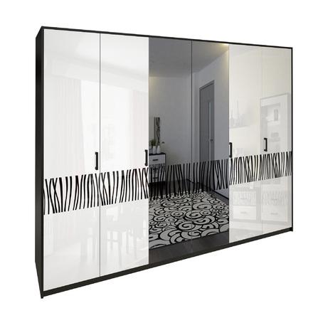 Шкаф 6 дверей комплект Терра глянец белый - черный мат