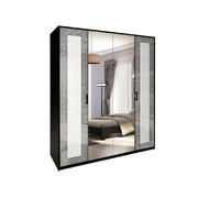 Шкаф 4 дверей комплект Виола глянец белый - черный мат