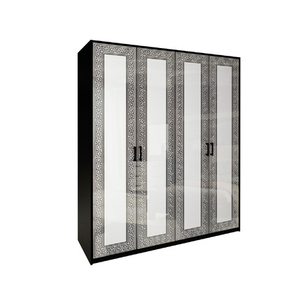 Шкаф 4 дверей без зеркал комплект Виола глянец белый - черный мат